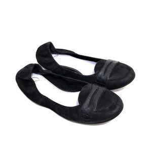 Delman Black Nubuck & Snakeskin Leather Loafers